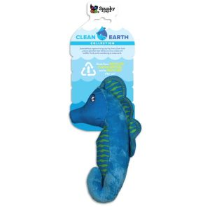 Spunky Pup Clean Earth Plush Seahorse Dog Toy