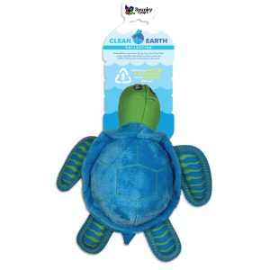 Spunky Pup Clean Earth Plush Turtle Dog Toy